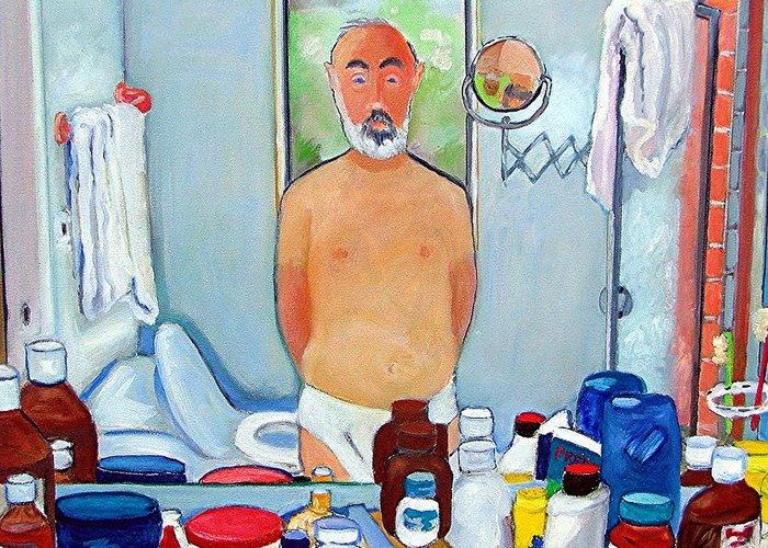 Self Portrait Greeting Card featuring the painting Reflections by Gary Coleman