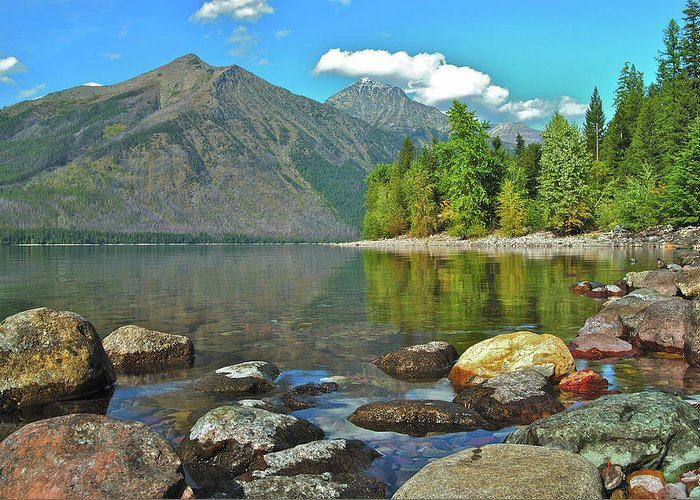 Montana Greeting Card featuring the photograph Reflections Glacier National Park by Michael Peychich