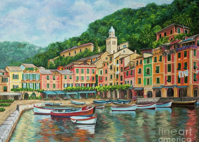 Portofino Italy Art Greeting Card featuring the painting Reflections Of Portofino by Charlotte Blanchard