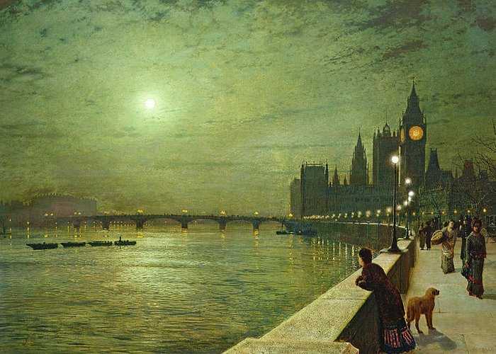 Reflections On The Thames Greeting Card featuring the painting Reflections On The Thames by John Atkinson Grimshaw