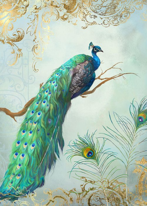 Regal Peacock 1 On Tree Branch W Feathers Gold Leaf Greeting Card