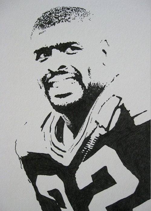 Reggie White Greeting Card featuring the drawing Reggie by Lynet McDonald