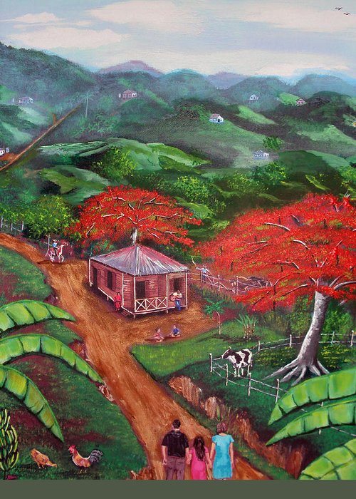 Flamboyan Greeting Card featuring the painting Regreso Al Campo by Luis F Rodriguez