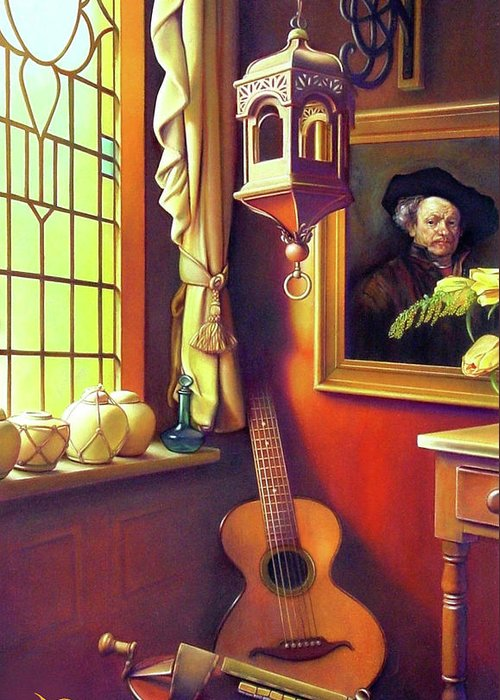 Rembrandt Greeting Card featuring the painting Rembrandt's Hurdy-gurdy by Patrick Anthony Pierson