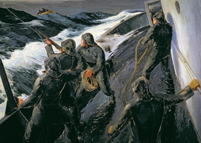 Rescue - Firing A Costen Gun Line (oil On Canvas) By Thomas Harold Beament (1898-1985) Greeting Card featuring the painting Rescue by Thomas Harold Beament