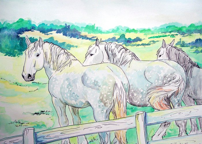 Horse Greeting Card featuring the painting Resting Giants by Jenn Cunningham