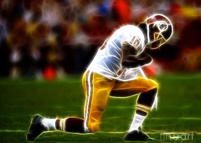Rg3 Greeting Card featuring the photograph Rg3 - Tebowing by Paul Ward