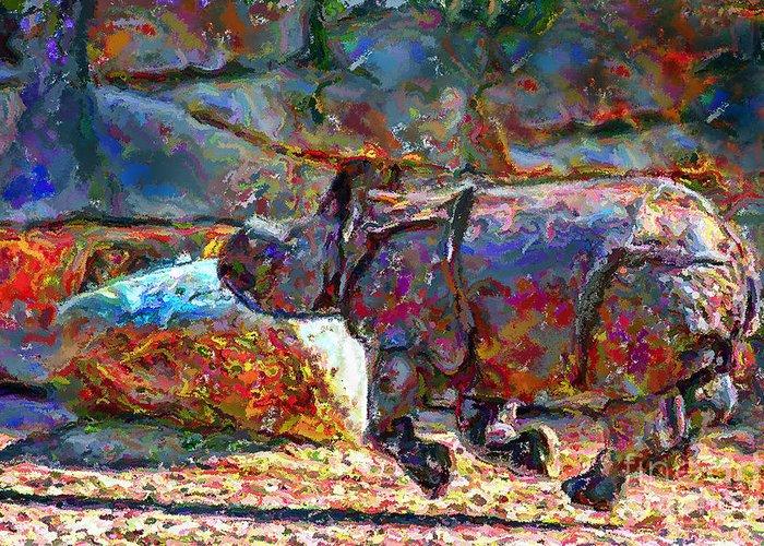 Animals Greeting Card featuring the digital art Rhino On The Run by Marilyn Sholin