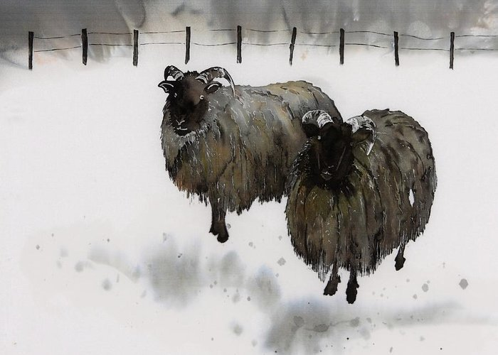 Sheep Greeting Card featuring the tapestry - textile Ricks Farm by Carolyn Doe