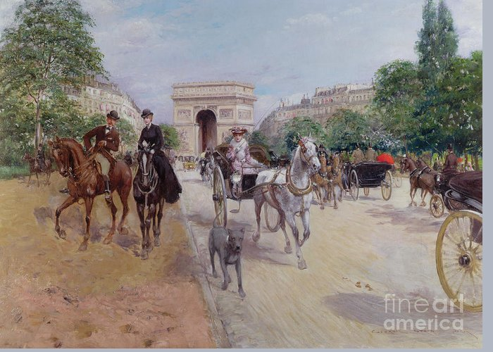 Riders Greeting Card featuring the painting Riders And Carriages On The Avenue Du Bois by Georges Stein