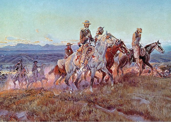 Riders Of The Open Range (oil On Canvas) By Charles Marion Russell (1865-1926) Greeting Card featuring the painting Riders Of The Open Range by Charles Marion Russell
