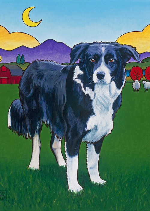 Border Collie Greeting Card featuring the painting Riley by Stacey Neumiller