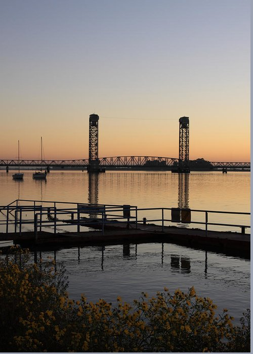 Boat Greeting Card featuring the photograph Rio Vista Bridge And Sail Boats by Troy Montemayor