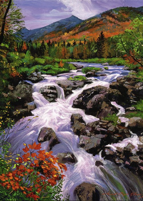 Rivers Greeting Card featuring the painting River Sounds by David Lloyd Glover