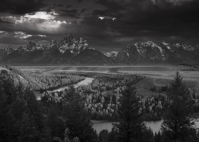 Teton Greeting Card featuring the photograph River Thru The Mountains by Andrew Soundarajan