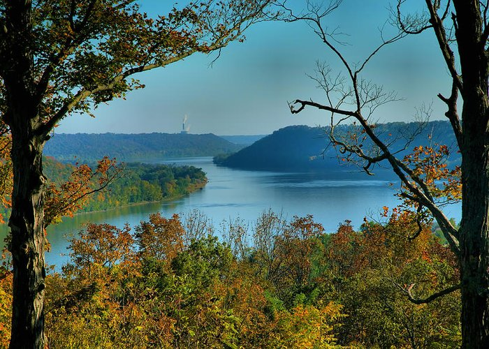Scenic Greeting Card featuring the photograph River View I by Steven Ainsworth