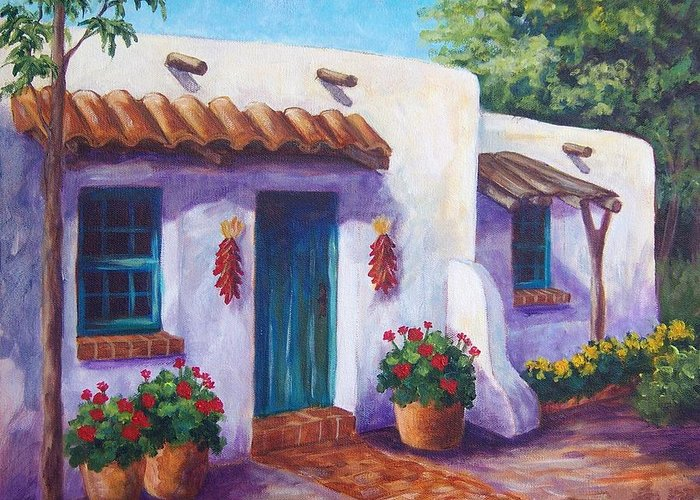 Landscape Greeting Card featuring the painting Riverbend Adobe by Candy Mayer