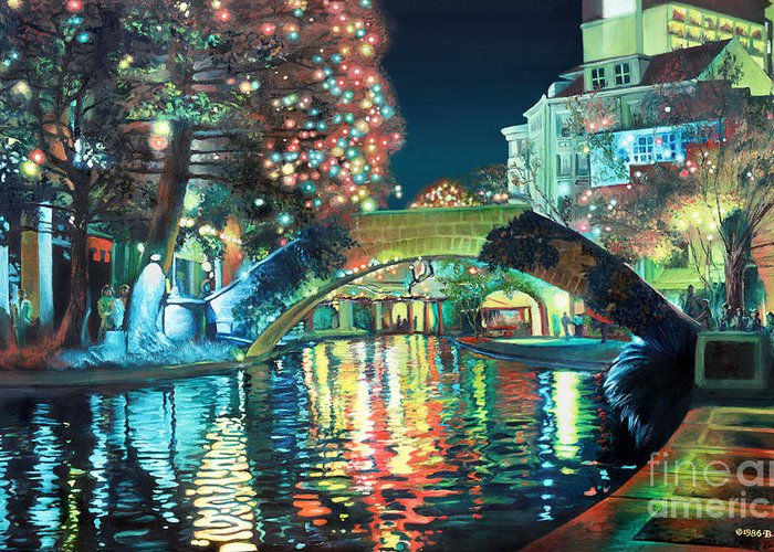 Landscape Greeting Card featuring the painting Riverwalk by Baron Dixon