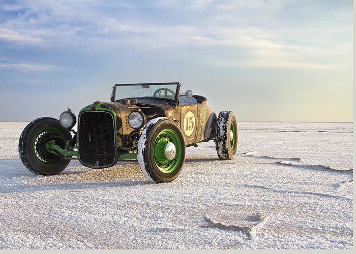 Bonneville Greeting Card featuring the photograph Roadster On The Salt Flats 2012 by Holly Martin