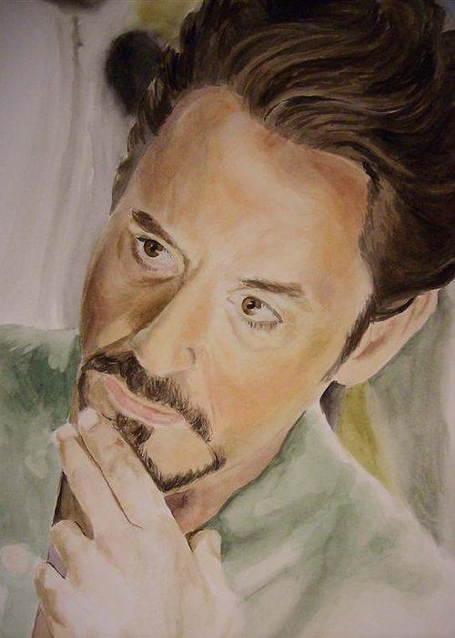 Robert Greeting Card featuring the painting Robert Downey Jr Iron Man by Angela Schwengler