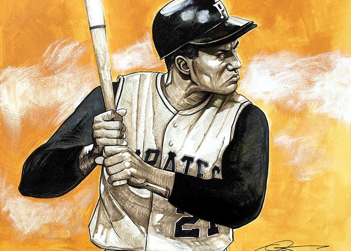 Roberto Clemente Greeting Card featuring the drawing Roberto Clemente by Dave Olsen