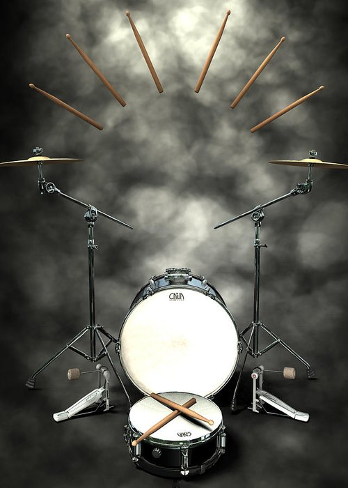 Rock N Roll Greeting Card featuring the digital art Rock N Roll Crest-the Drummer by Frederico Borges