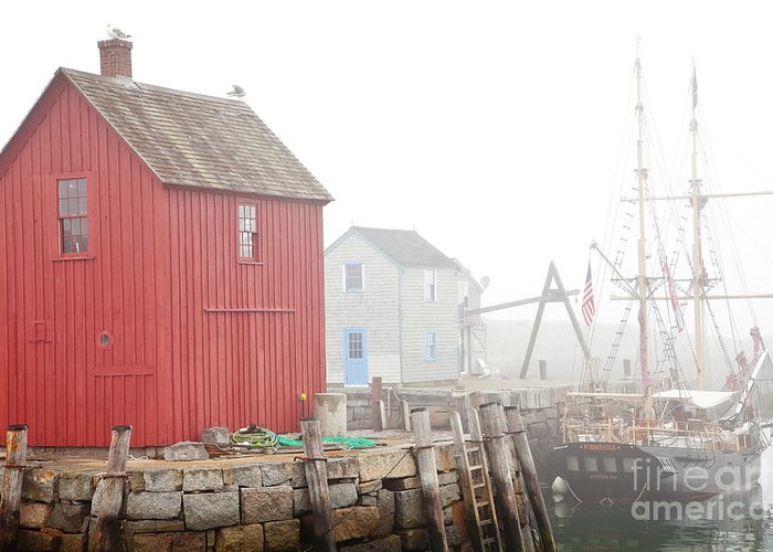 Boat Greeting Card featuring the photograph Rockport Fog by Susan Cole Kelly