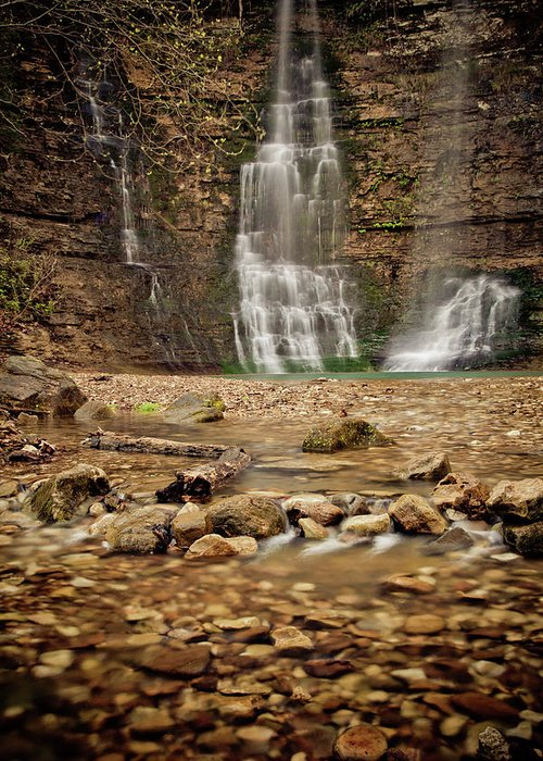 Landscape Greeting Card featuring the photograph Rocks And Waterfalls by Iris Greenwell
