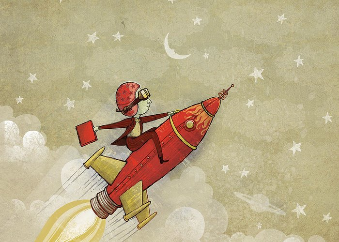 Rocket Greeting Card featuring the digital art Rockship by Dennis Wunsch