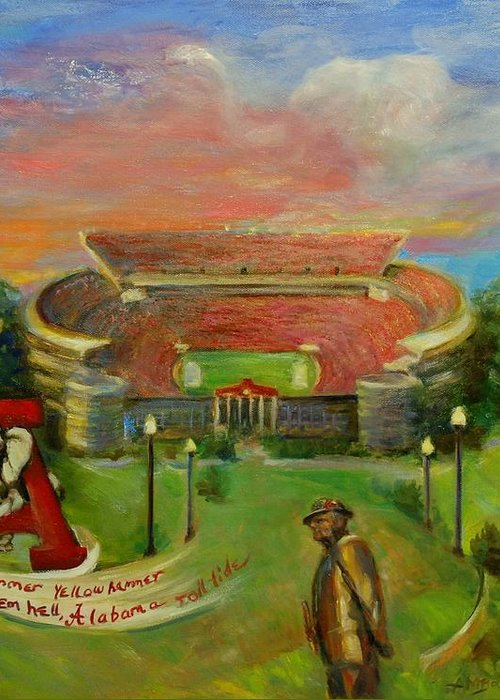 Roll Tide Greeting Card featuring the painting Roll Tide by Ann Bailey