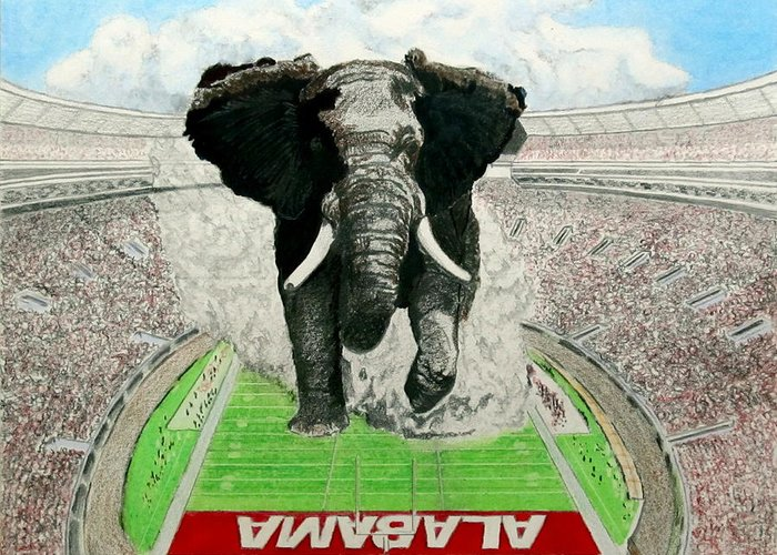 Football Greeting Card featuring the drawing Roll Tide by Martin Lagewaard