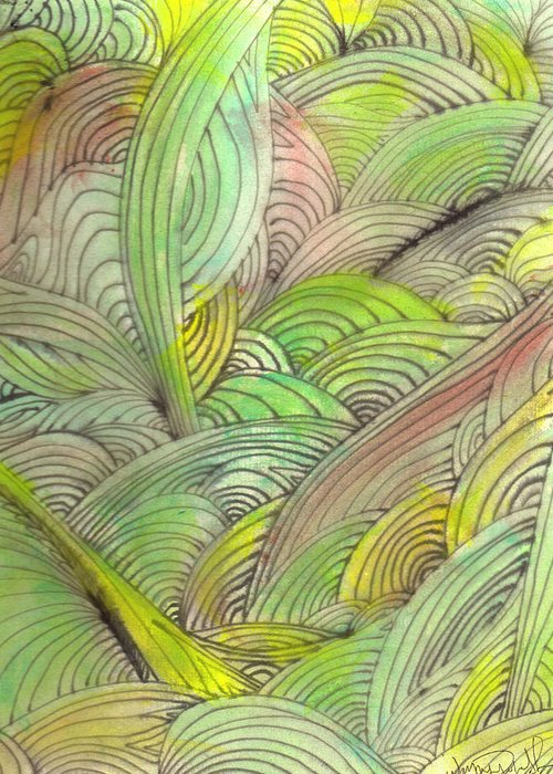 Abstract Greeting Card featuring the painting Rolling Patterns In Greens by Wayne Potrafka