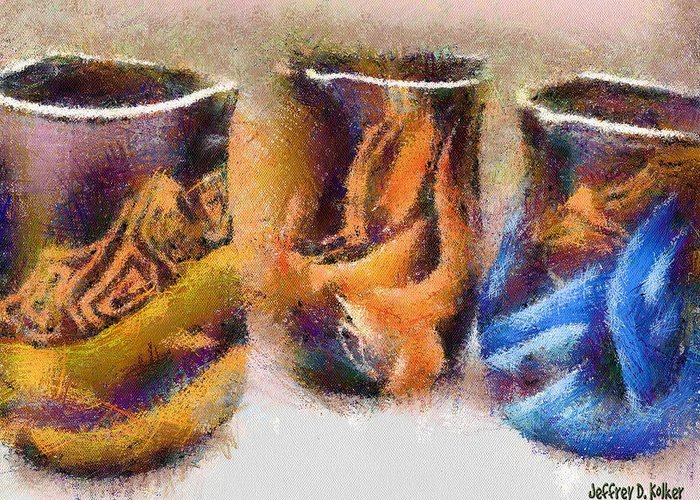 Romania Greeting Card featuring the painting Romanian Vases by Jeff Kolker