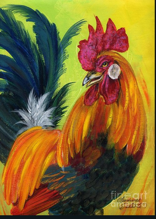 Rooster Greeting Card featuring the painting Rooster Kary by Summer Celeste
