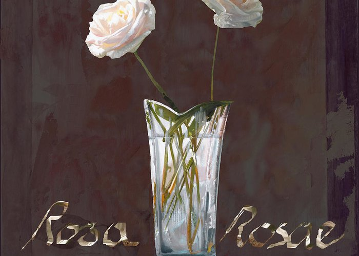 Rasa Greeting Card featuring the painting Rosa Rosae by Guido Borelli