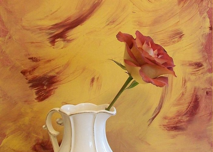Photo Greeting Card featuring the photograph Rose In A Pitcher by Marsha Heiken