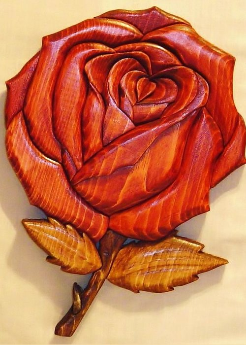 Intarsia Greeting Card featuring the sculpture Rose by Russell Ellingsworth