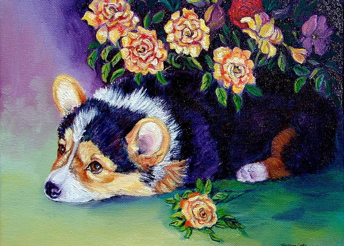 Pembroke Welsh Corgi Greeting Card featuring the painting Roses - Pembroke Welsh Corgi by Lyn Cook