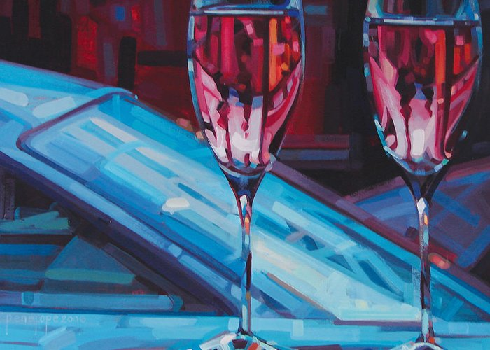 Wine Painting Greeting Card featuring the painting Rosey Twins by Penelope Moore
