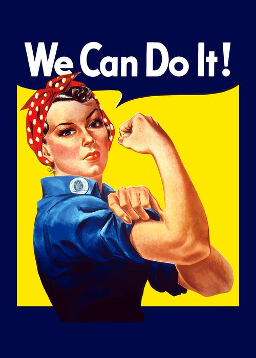 Rosie The Riveter Greeting Card featuring the painting Rosie The Rivetor by War Is Hell Store