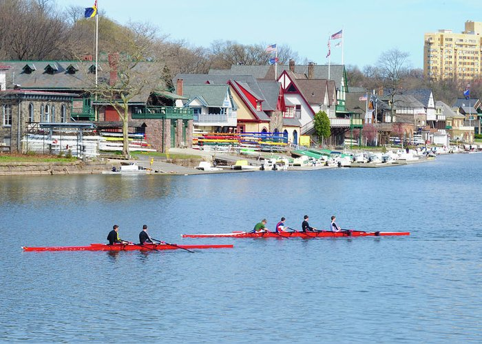 Rowers Greeting Card featuring the photograph Rowing Along The Schuylkill River by Bill Cannon