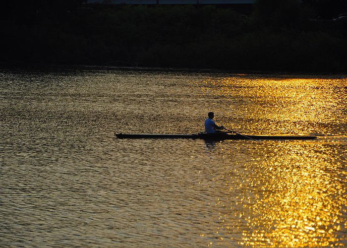 Philadelphia Greeting Card featuring the photograph Rowing At Sunset by Bill Cannon