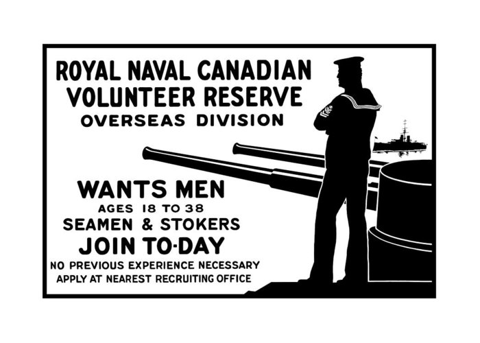 World War One Greeting Card featuring the mixed media Royal Naval Canadian Volunteer Reserve by War Is Hell Store