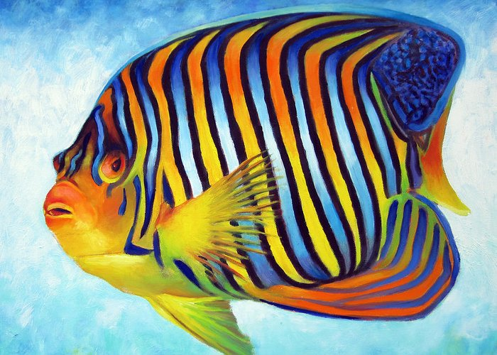 Royal Angelfish Greeting Card featuring the painting Royal Queen Angelfish by Nancy Tilles