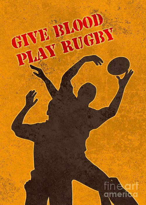 Rugby Greeting Card featuring the digital art Rugby Player Jumping Catching Ball In Lineout by Aloysius Patrimonio