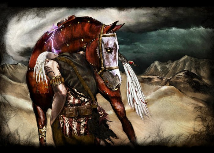 Fantasy Greeting Card featuring the painting Ruined Empires - Skin Horse by Mandem