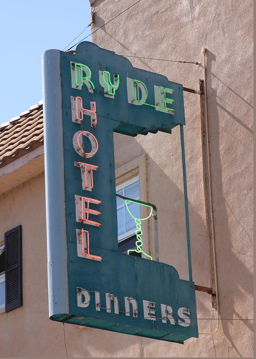 Bar Greeting Card featuring the photograph Ryde Hotel Sign by Troy Montemayor