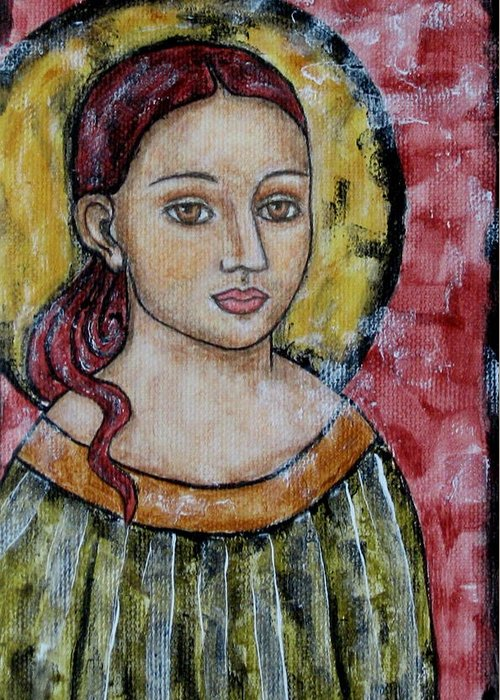 Paintings Greeting Card featuring the painting Sabrina by Rain Ririn