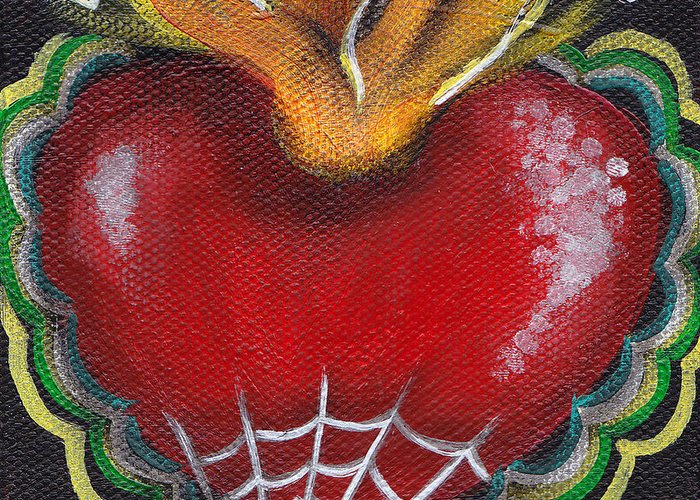 Sacred Heart Greeting Card featuring the painting Sagrado Corazon 2 by Abril Andrade Griffith