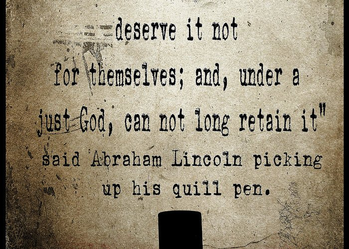 Abraham Lincoln Greeting Card featuring the painting Said Abraham Lincoln by Cinema Photography